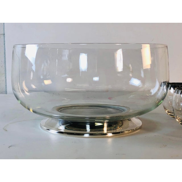 Mid-Century Modern 1960s Punch Bowl Set With Silver Rim Tumblers, Set of 9 For Sale - Image 3 of 9