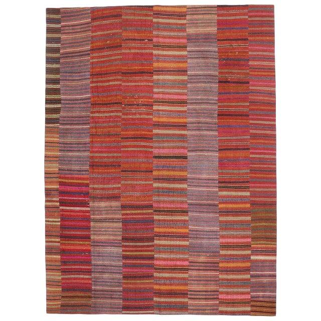 Vintage Turkish Kilim Flat-Weave Striped Rug - 9′7″ × 12′11″ For Sale