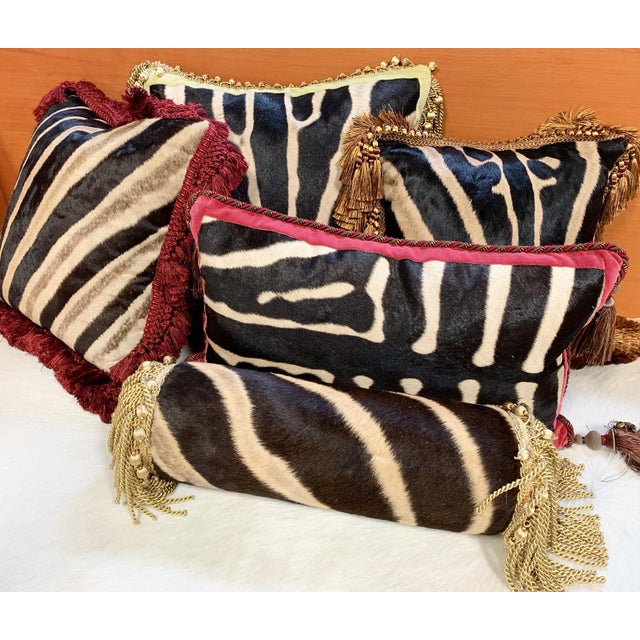 """One of a Kind Zebra Pillow, 19"""" For Sale - Image 4 of 6"""