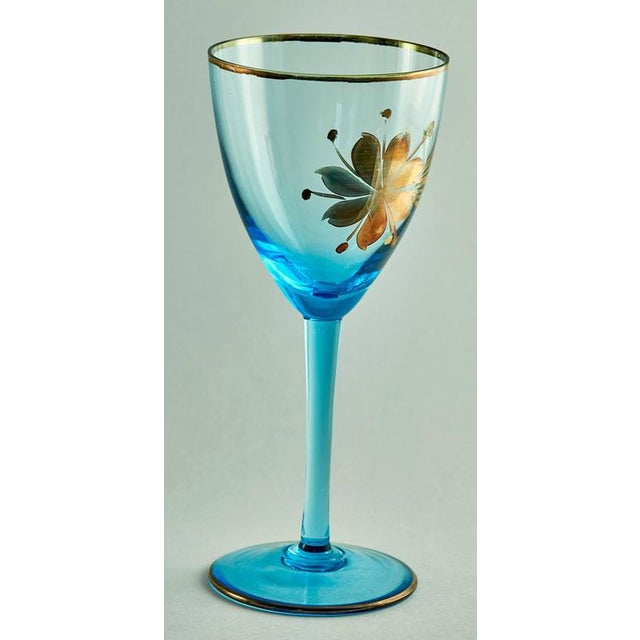 Sea Blue & Gold Leaf Decanter & Glassware Set - Image 5 of 10