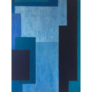 Abstract Monochromatic Geometric Blue Painting by Stephen Cimini For Sale