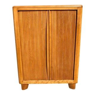 20th Century Art Deco Heywood Wakefield Accordion Door Cabinet For Sale
