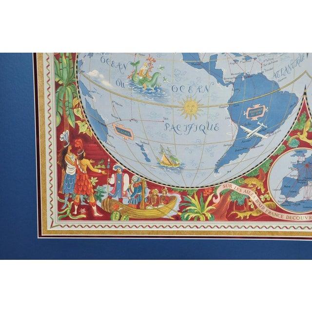 """Blue Large Framed 1952 Lucien Boucher """"Air France"""" World Map Framed Poster Planisphere For Sale - Image 8 of 12"""