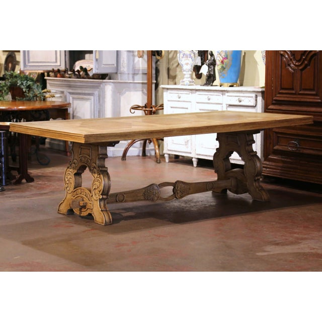 Early 20th Century French Carved Bleached Oak Marquetry Trestle Dining Table For Sale - Image 10 of 13