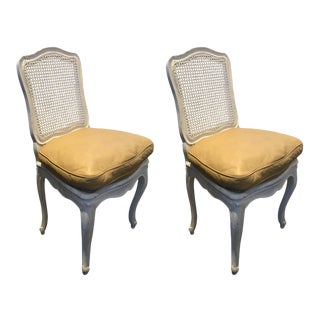 Pair of Painted White French-Style Caned Chairs With Tan Leather For Sale