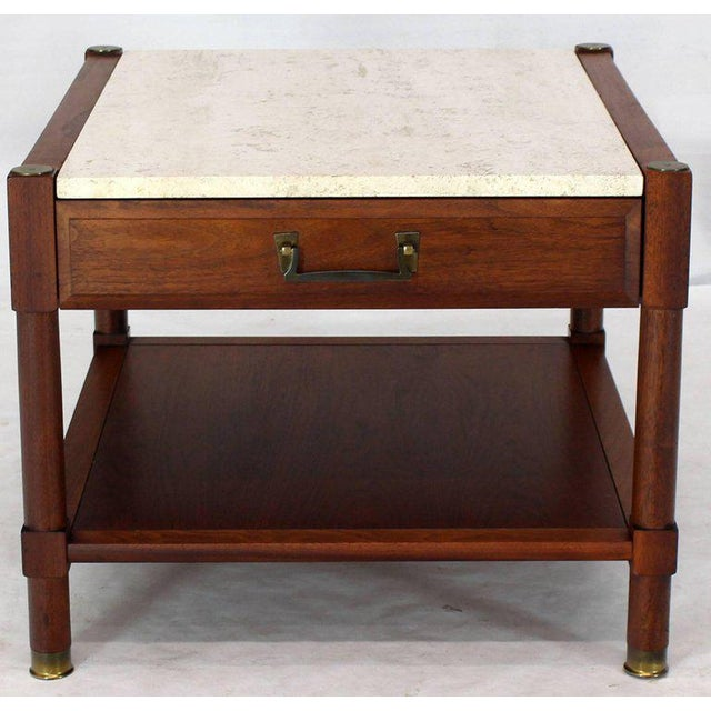 Stone Pair of Travertine Tops One Drawer Oiled Walnut End Side Tables For Sale - Image 7 of 13