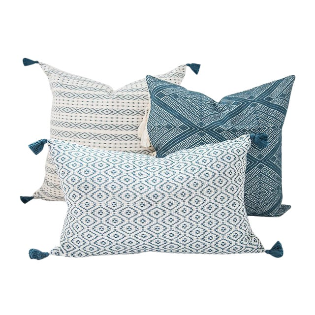 Teal Handwoven Mexican Pillows - Set of 3 For Sale