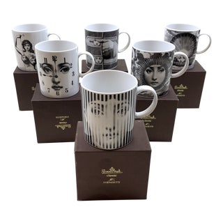 1990s Mid-Century Modern Piero Fornasetti for Rosenthal Mugs - Set of 6 For Sale