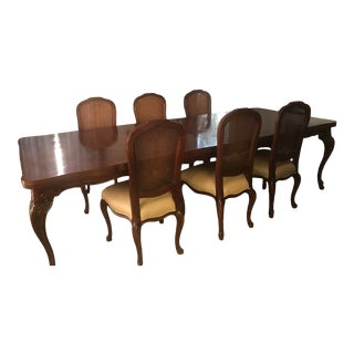 Wood French Dining Table Set For Sale
