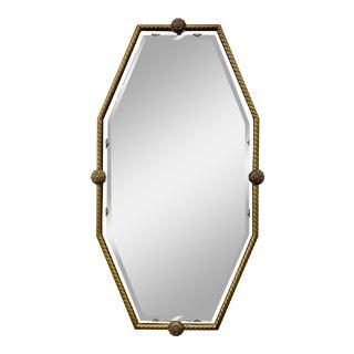Vintage Hollywood Regency Floating Hexagon Mirror in Brass Frame For Sale