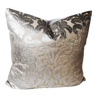 Art Deco Fabricut Silver and Gray Cut Velvet Damask Filigree Pillow For Sale