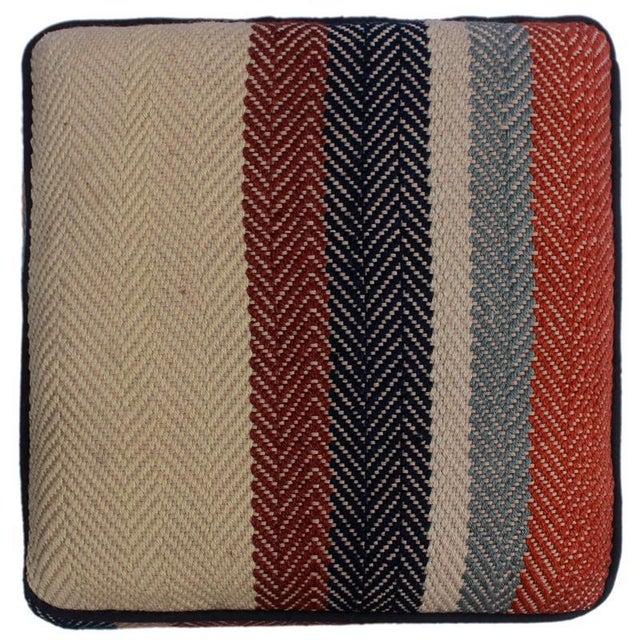 2010s Arshs Dong Brown/Blue Kilim Upholstered Handmade Ottoman For Sale - Image 5 of 8