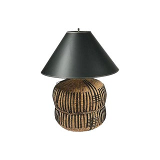 Wicker & Leather Lamp
