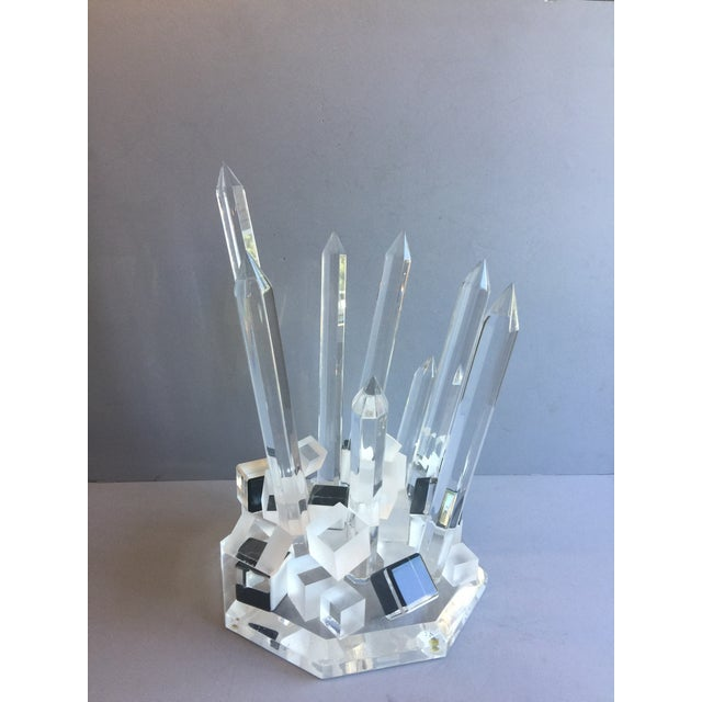 Large Modern Lucite Abstract Quartz/Crystal Shape Magnificent Sculpture For Sale - Image 10 of 13