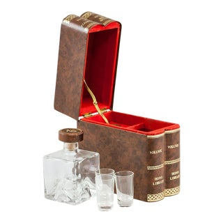 Vintage French Hidden Tantalus Decanter Set With Music Box - 5 Piece Set For Sale