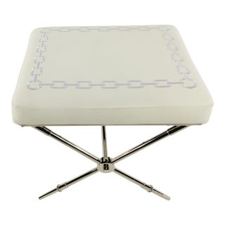Jonathan Adler White Leather Rider Bench