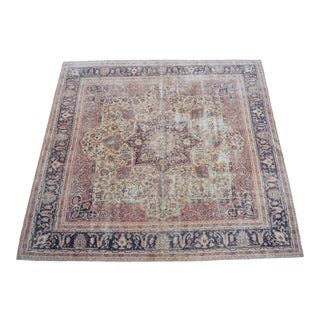 Distressed Area Rug Hand Knotted Faded Colors Oushak Medallion Rug - 5'2'' X 5'4 For Sale