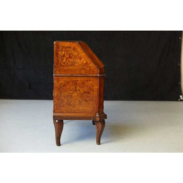 Mid 19th Century Italian Burled Walnut Slant Front Desk with Hidden Drawers For Sale - Image 5 of 10