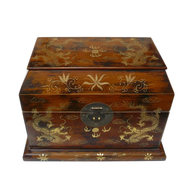 Chinese Light Brown Lacquer Golden Dragons Box - Image 2 of 5