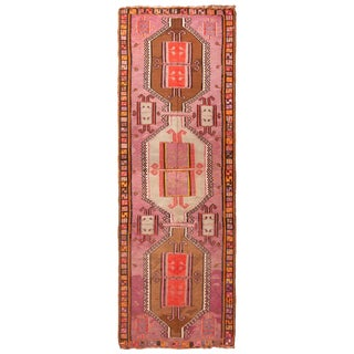 Antique Kurdish Pink and Brown Wool Kilim With Mihrab Pattern - 5′1″ × 14′9″ For Sale