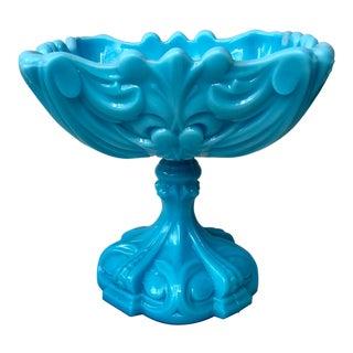 1930s Vintage French Aqua Milk Glass Comport For Sale