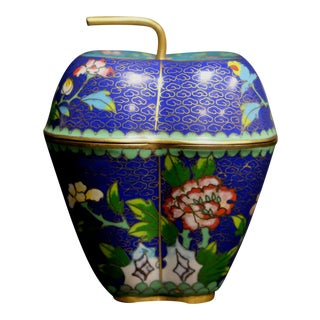Chinese Bronze Cloisonne Enamel Vase With Compartment and Apple Form