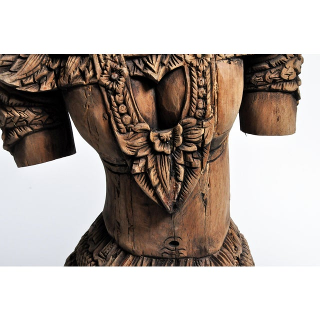 Southeast Asian Wood Carving Model of a Goddess For Sale - Image 11 of 13