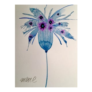 Original Watercolor of Blue Bloom Painting For Sale