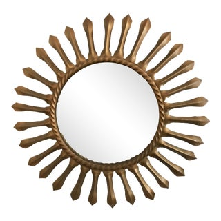 1960s Vintage French Chaty Gold Sunburst Mirror For Sale