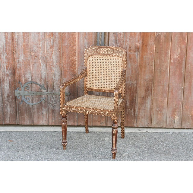 Bone Inlay Colonial Arm Chairs, Pair For Sale - Image 9 of 11