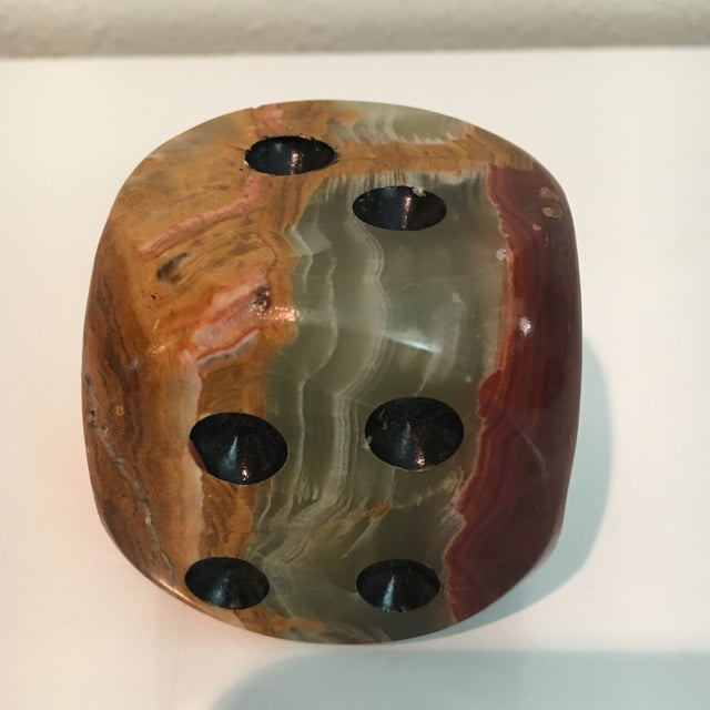 Modern Oversized Alabaster Dice Paperweight For Sale - Image 3 of 5