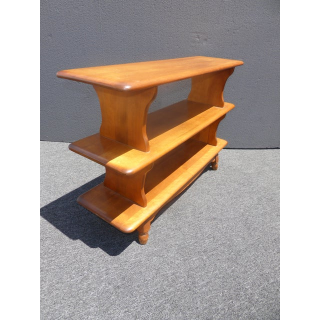 Vintage Mid-Century Modern 3 Tier Maple Bookcase For Sale - Image 4 of 11