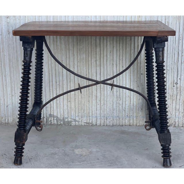 19th Century Baroque Spanish Side Table With Marquetry Top & Turned Legs For Sale - Image 4 of 13