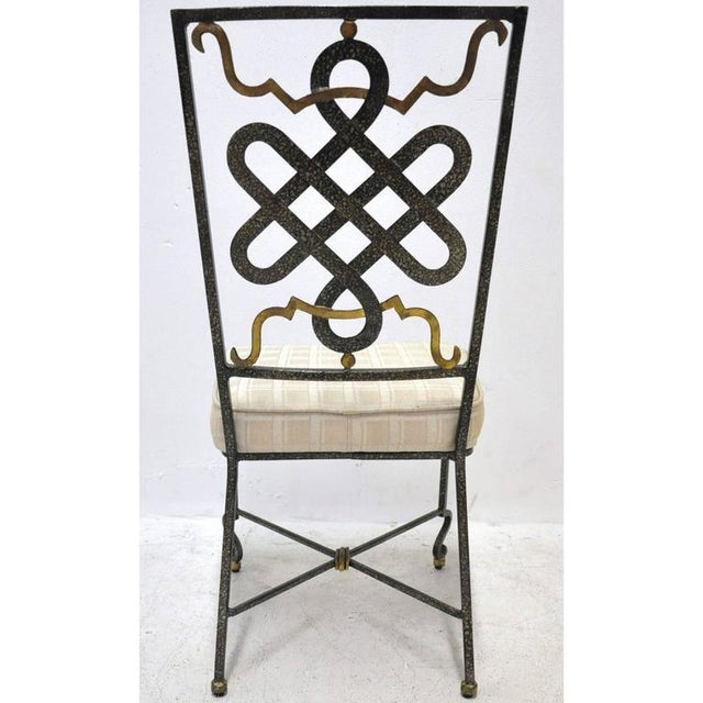 Fabric Mid-20th Century French Painted Iron Chairs With Fabric Cushions - Set of 6 For Sale - Image 7 of 7