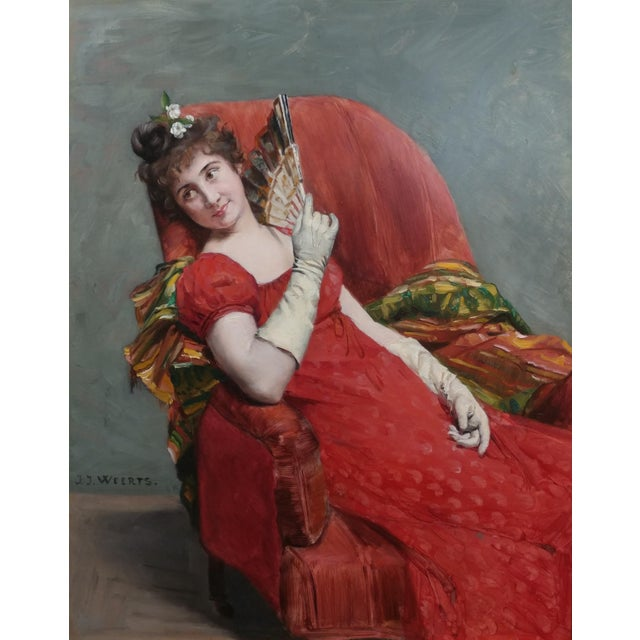 Jean Joseph Weerts - Portrait of a Woman in Red W/A Fan- Oil Painting C1880s For Sale - Image 11 of 11