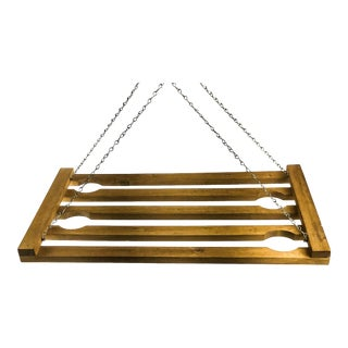 Artisan Wood & Chain Ceiling Hung Stemware Display Holder For Sale