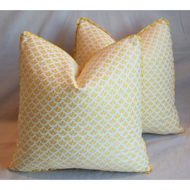 """Italian Mariano Fortuny Canestrelli Feather/Down Pillows 20"""" Square - Pair For Sale - Image 12 of 13"""