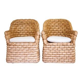 Ralph Lauren Lampakanay Fiber Barrel Joshua Tree Chairs - a Pair