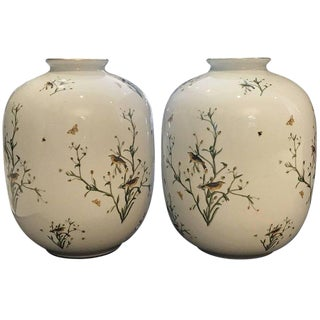 Rosenthal German Porcelain Ovoid Vases - a Pair For Sale