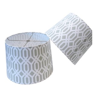 Modern Patterned Drum Lamp Shades, Pair For Sale