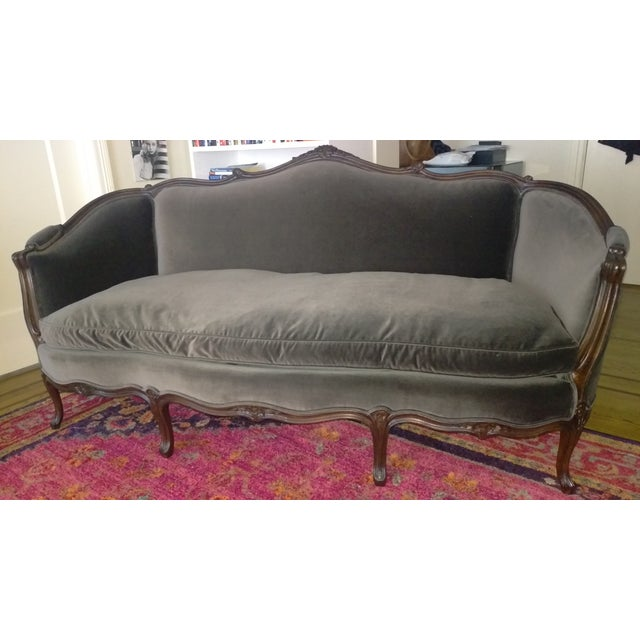 Luxurious (highest grade slate gray) velvet from Sal Beressi Fabrics. 100% Down seat cushion. Un-used since re-upholstered...