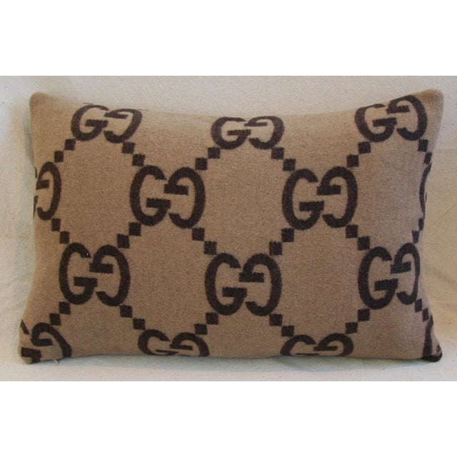 """23"""" X 16"""" Custom Tailored Gucci Cashmere & Velvet Feather/Down Pillows- Pair - Image 4 of 10"""
