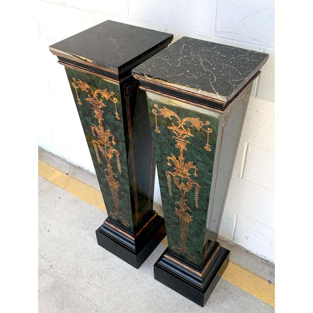 Neoclassical Neoclassical Faux Painted Green and Gilt Pedestals - a PAir For Sale - Image 3 of 8