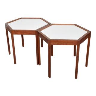 Mid Century Danish Modern Pair of Hexagon Side Tables Hans C Andersen For Sale