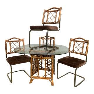Vintage Mid-Century Rattan & Chrome Cantilever Dining Set - 5 Pieces For Sale