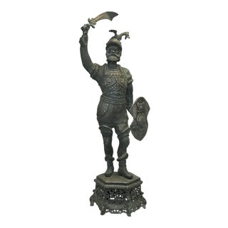 Antique Conquistador Metal Statue For Sale