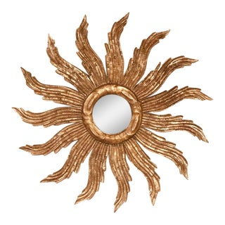 Vintage Mid-Century French Baroque Style Gilt Wood Carved Sunburst Wall Mirror For Sale