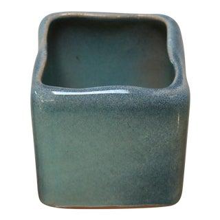 Little Square Ceramic Vase in Robin's Egg Blue For Sale