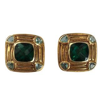 18k Gold Tourmaline & Blue Topaz Clip Earrings For Sale