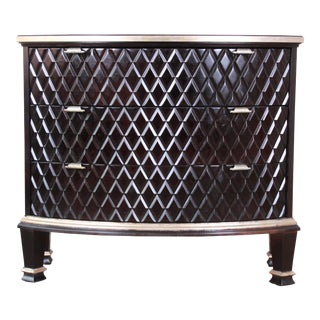 Century Furniture Art Deco Sculpted Diamond Design Black Lacquered Three-Drawer Chest For Sale